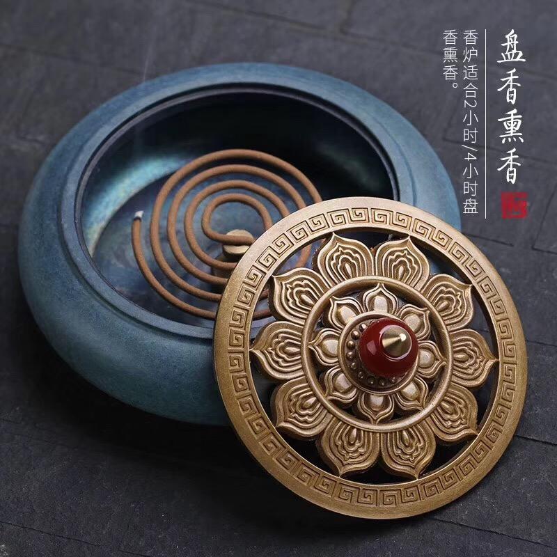莲心玉提香炉-盘香